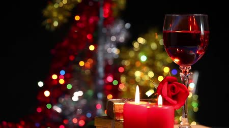 zakochani : Glass of Wine, Candles and Rose Wideo