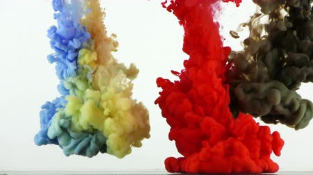 Colorful Paint Ink Drops Splash in Underwater in Water Pool