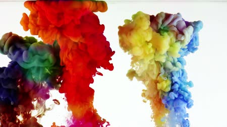 damla : Colorful Paint Ink Drops  Splash in Underwater in Water Pool Stok Video