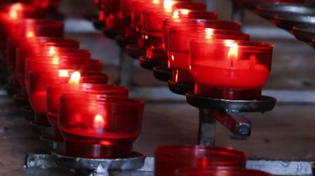 dilek : Wish Praying Red Candles in Church Stok Video