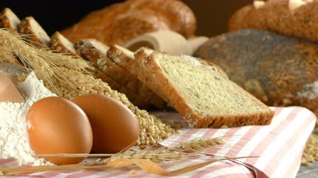food preparation : Bread Flour Wheat Egg Food Concept Stock Footage