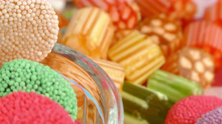 lolly : Sweet Candy Jelly Lolly en Delicious Sugar Dessert Stockvideo