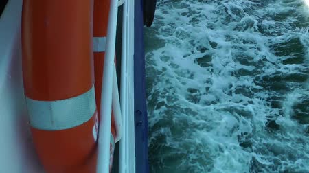 preserver : Life Buoy Emergency Safety Protection on Ferryboat Stock Footage
