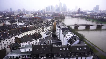 merkezi : Frankfurt Germany Maine River and Business Towers in Snowy Day Stok Video