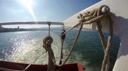 serpentina : Rope in ferryboat and sea