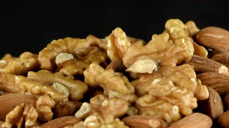 avelã : Almond and Walnut Macro View Stock Footage