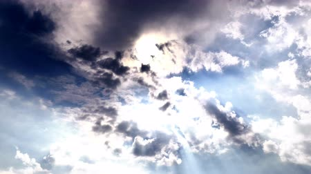 god ray : Dark Clouds and Sun Stock Footage