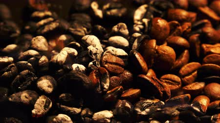 Roasted Coffee Beans on Burning Fire Macro Стоковые видеозаписи