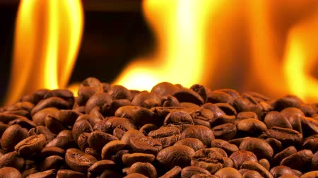 Roasted Coffee Beans on Burning Fire Macro Stock mozgókép