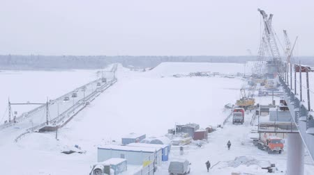 pilares : snowy bridge construction site above Arctic circle in cities of Novy Urengoy and Salekhard in Russia