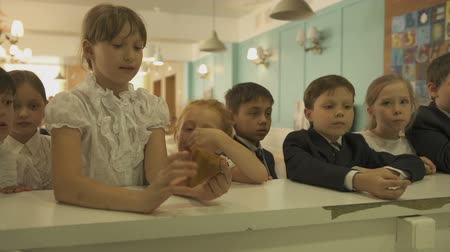 barmetro : KAZAN, TATARSTAN  RUSSIA - JANUARY 20, 2017: Slow motion children stand at white canteen bar and girl in blouse buys patty and juice at school canteen on January 20 in Kazan