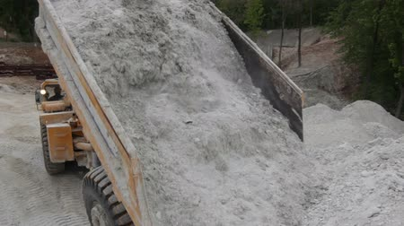 taş ocağı : enormous large dusty yellow truck unloads extracted grey calcareous rock on huge pile near big pit