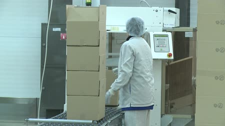 distribution lectrique : KAZAN, TATARSTAN  RUSSIA - AUGUST 29 2017: Camera shows woman worker in white uniform making paper carton pile on conveyor and carrying out on August 29 in Kazan Stock Footage