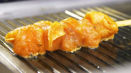 drewno : closeup camera shows aromatic fresh tasty chicken meat on wooden stick