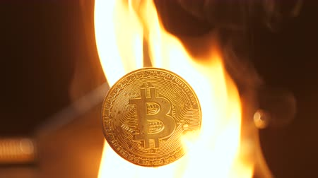 tornar : closeup bitcoin model burns in strong fire and not damage because it becomes trustable all over world