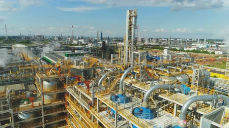 petroleum refinery : enlarged aerial view of the blue sky Stock Footage