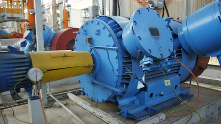 compressor : motion to blue metal large modern power in gas and oil refinery plant workshop