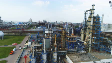 storage tank : powerful aerial view powerful refinery territory with modern equipment