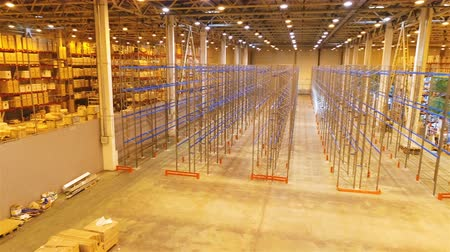 distribution lectrique : upper view of a large modern warehouse with modern metal racks goods in bags and pallets