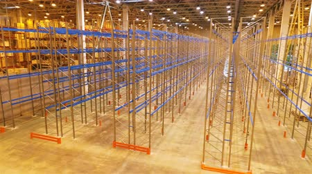 distribution lectrique : motion along modern large metal rack and worker checking construction in modern warehouse