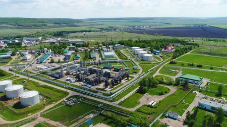 углерод : top view fuel processing factory Стоковые видеозаписи