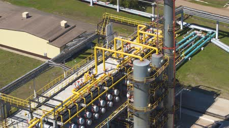 petroleum refinery : drone view powerful large structure with pipes located on gas production company territory