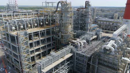 petroleum refinery : aerial view oil refinery plant pipelines against sky Stock Footage