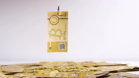 verze : Bitcoin Banknote Caught and Lifted up with Hook Dostupné videozáznamy