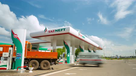 filling station : Automobiles Come Leave Petrol Station Territory Stock Footage