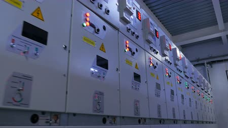 watt : boxes row of electrical appliances with illuminated buttons