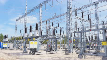 izolace : isolators installed at transmission substation distributing energy