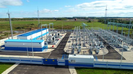 watt : transforming substation for distributing energy in countryside Stok Video