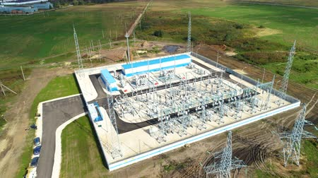 watt : industrial buildings metal structures at electric substation Stok Video