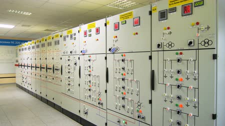 watt : equipment cupboards with electrical circuits and illuminated readings