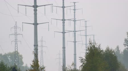 watt : row of high voltage towers holding electric wires Stok Video