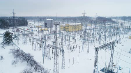 watt : constructions and supports with electrical wires at distribution substation Stok Video