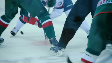 faceoff : slow motion hockey players struggle for puck after face-off Stock Footage