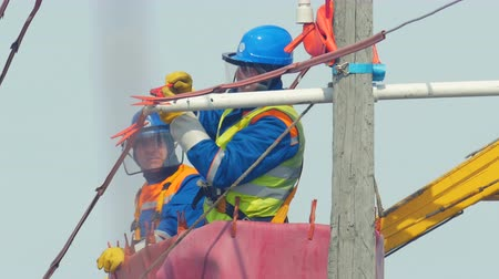 fitter : worker in helmet connects cable on pole in truck crane cradle Stock Footage