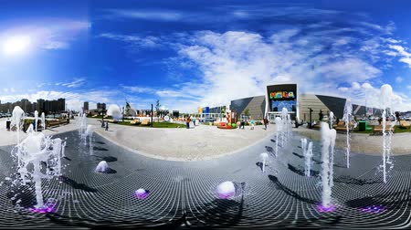 fish eye : jumping fountain spacious square at new entertainment center Stock Footage