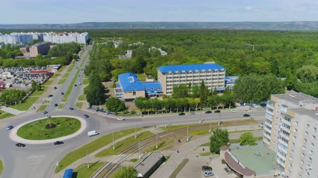 пересечение : upper view modern factory office at road junction and woods Стоковые видеозаписи