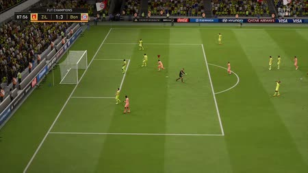 вратарь : yellow team goalkeeper misses kick into goal in simulator