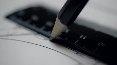 close view line drawn with pencil and ruler on drawing Stock Footage