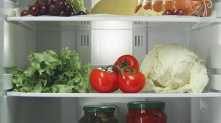 hűtőgép : motion up along fridge shelves full of delicious food