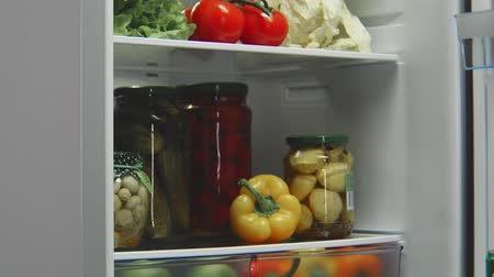 mrazák : grey refrigerator full of food with opening and closing door