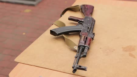armado : Assault Rifle On The Table Stock Footage