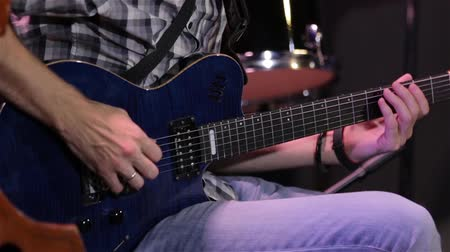 blues music : Man Playing An Electric Guitar Stock Footage