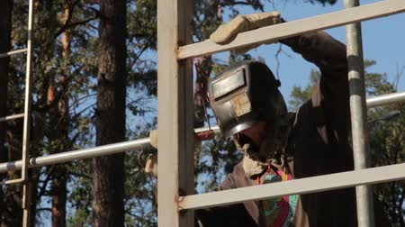 construct : Welding Of Building Construction Stock Footage