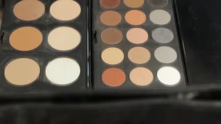 eyeshadow : Makeup Brushes with Eye Shadows Stock Footage