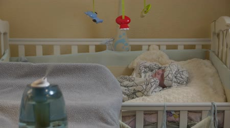 ion : Humidifier Baby Sleeping Stock Footage