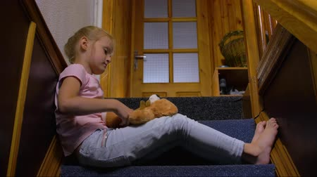 resentment : Little Girl Alone At Home Stock Footage